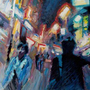 Фрагмент картины 1/3. Пейзаж. № 8. Улица Тверская в 0 часов 30 минут