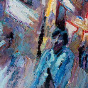 Фрагмент картины 3/3. Пейзаж. № 8. Улица Тверская в 0 часов 30 минут