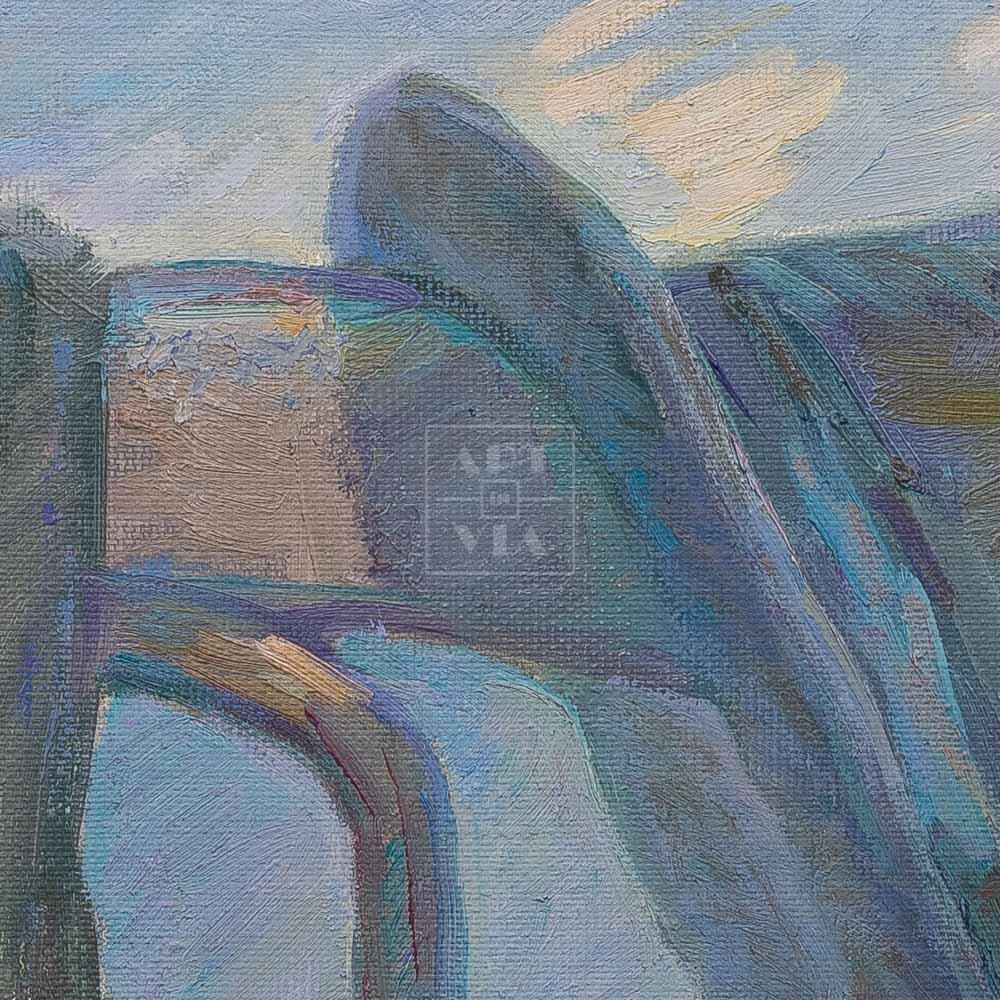 Фрагмент картины 2/3. Натюрморт с ботинками и чемоданчиком