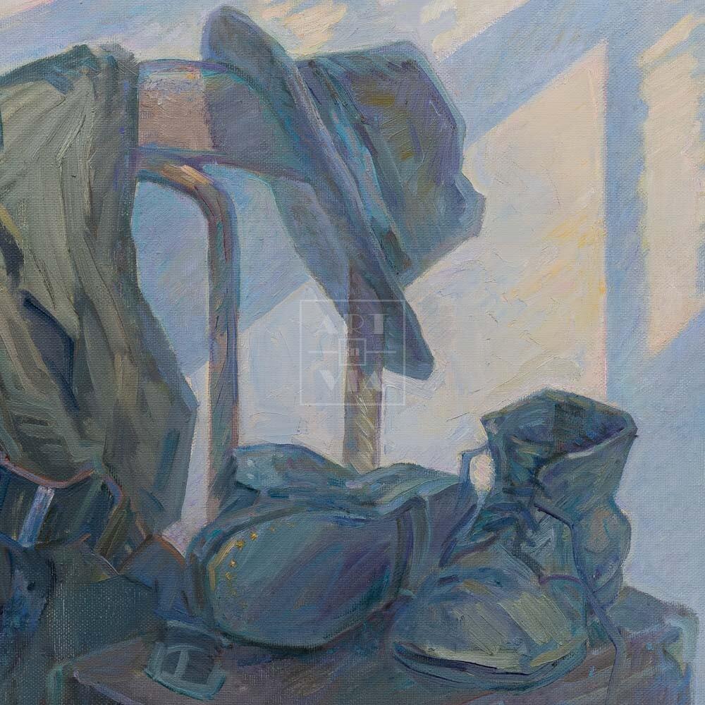 Фрагмент картины 3/3. Натюрморт с ботинками и чемоданчиком