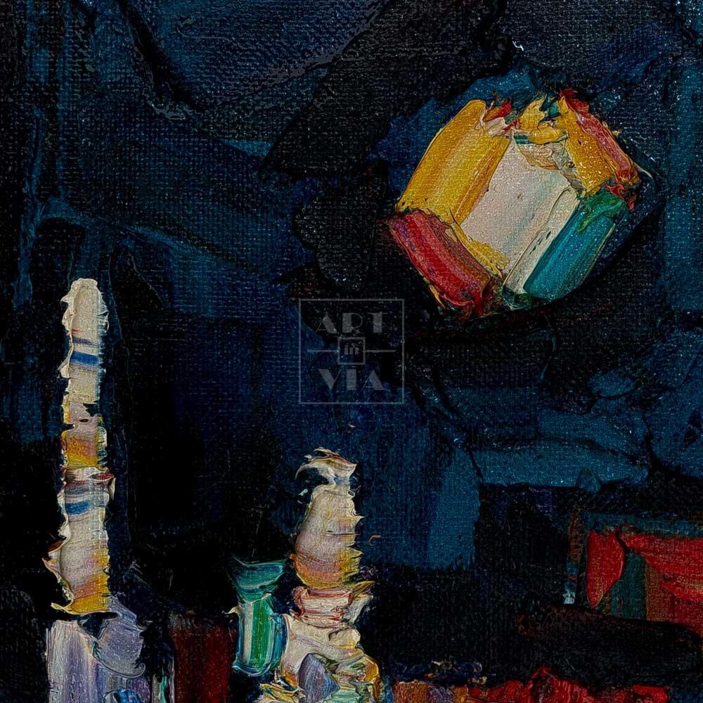 Фрагмент картины 2/3. Пейзаж. № 9. Улица Тверская в 0 часов 30 минут