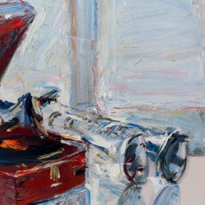 Фрагмент картины 3/3. Натюрморт с патефоном и трубами