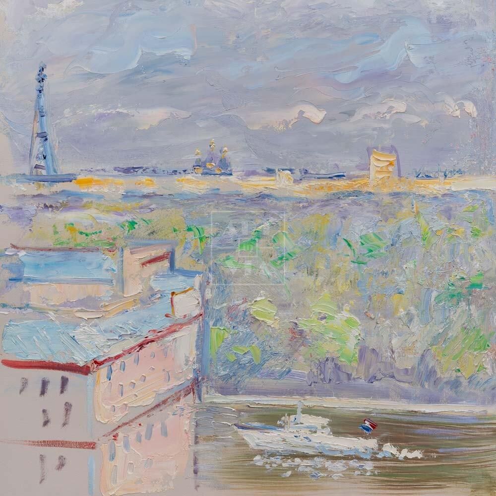 Фрагмент картины 1/3. Москва. Пейзаж. Вид из окна