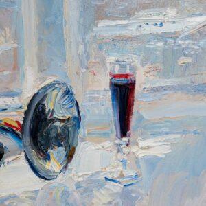 Фрагмент картины 3/3. Натюрморт. № 2. Натюрморт с трубой и бокалом