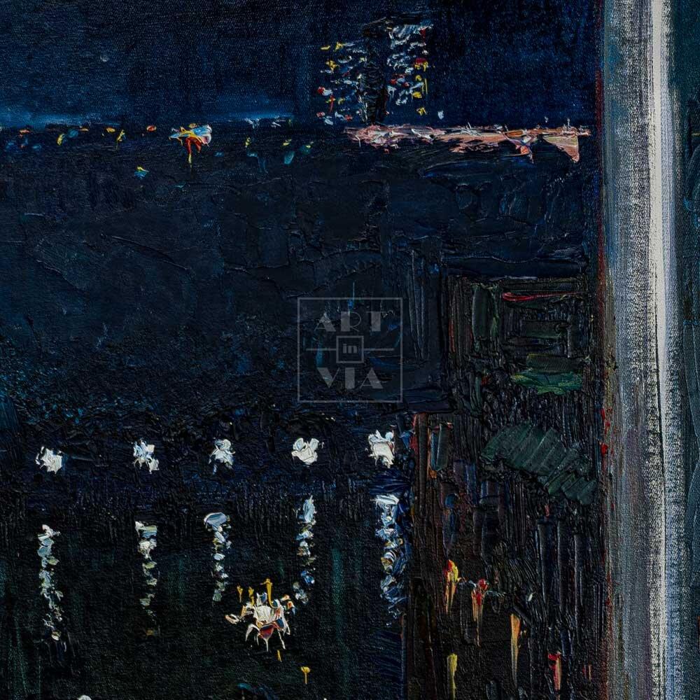 Фрагмент картины 1/3. Пейзаж. Вид на Москву-реку ночью