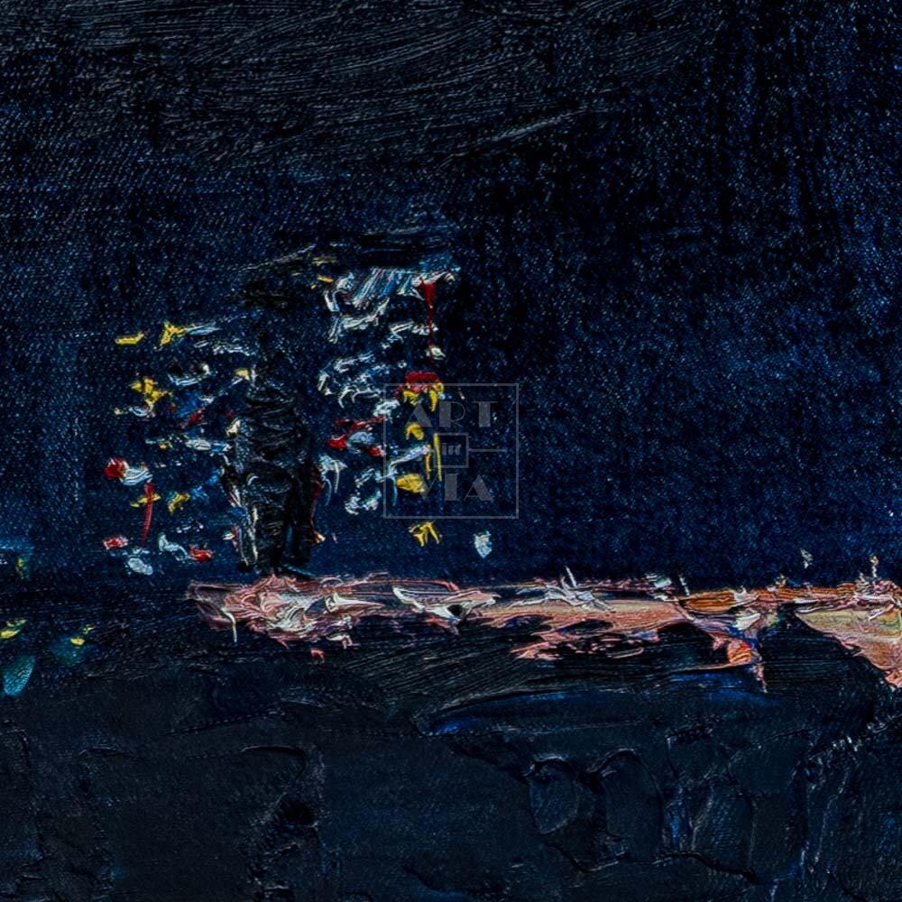 Фрагмент картины 2/3. Пейзаж. Вид на Москву-реку ночью