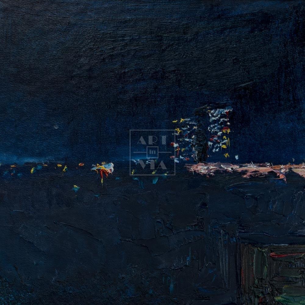 Фрагмент картины 3/3. Пейзаж. Вид на Москву-реку ночью