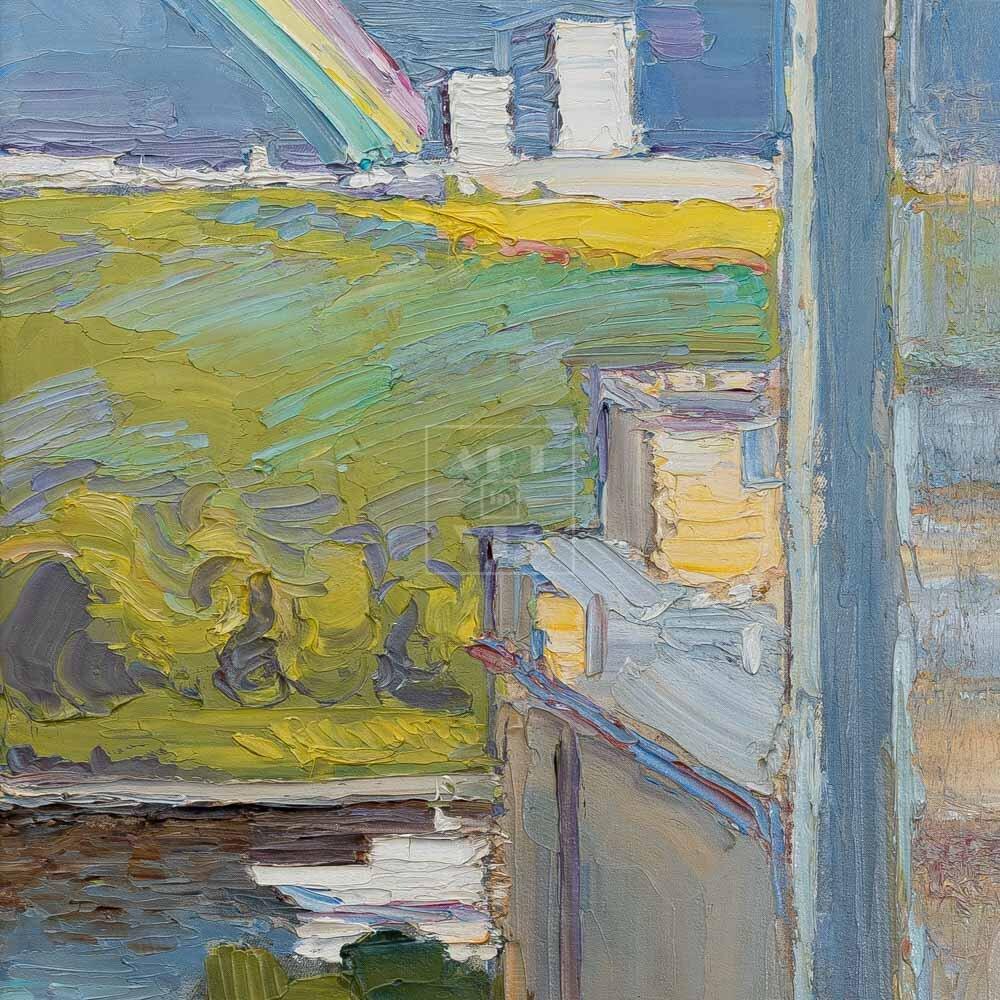 Фрагмент картины 1/3. Пейзаж. Вид на Москву-реку днем