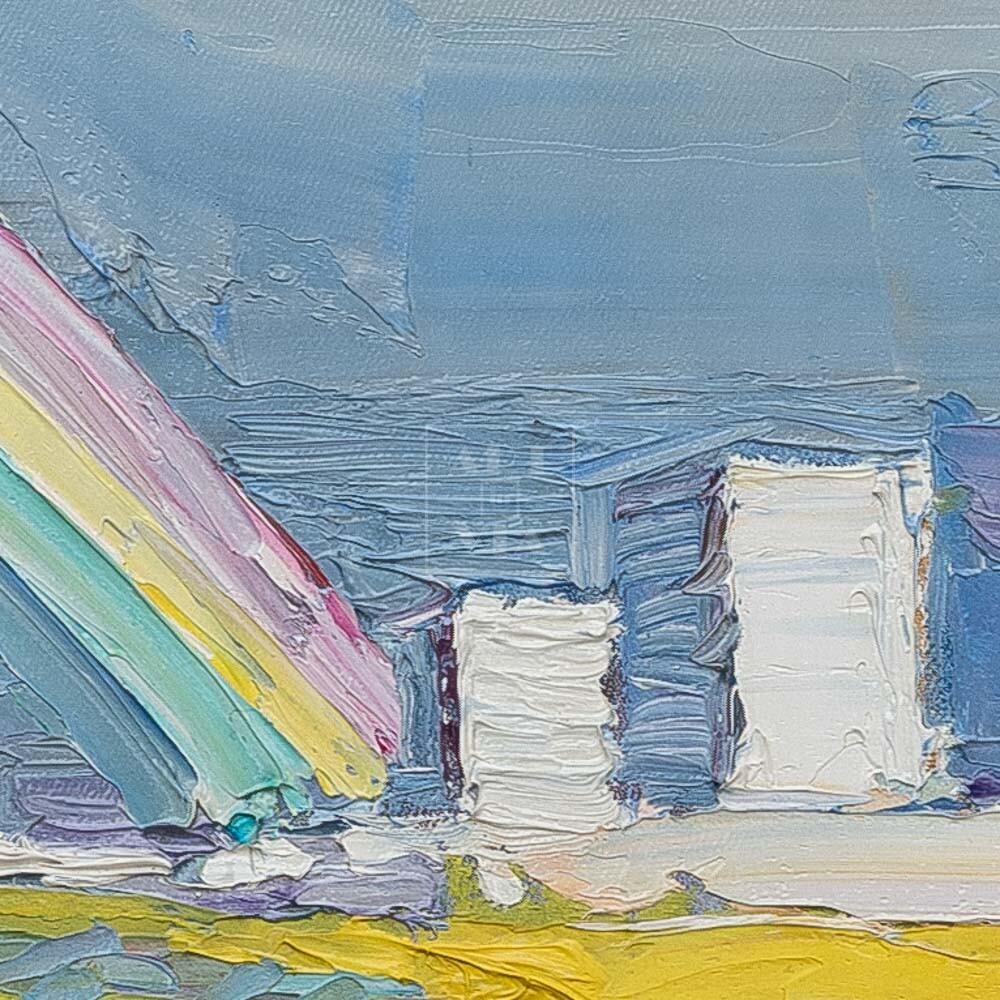 Фрагмент картины 2/3. Пейзаж. Вид на Москву-реку днем