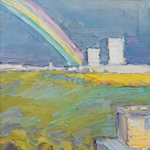 Фрагмент картины 3/3. Пейзаж. Вид на Москву-реку днем