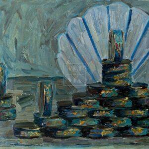 Фрагмент картины 1/3. Натюрморт. Банки в витрине