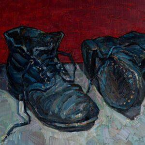 Фрагмент картины 1/3. № 1. Натюрморт с ботинками