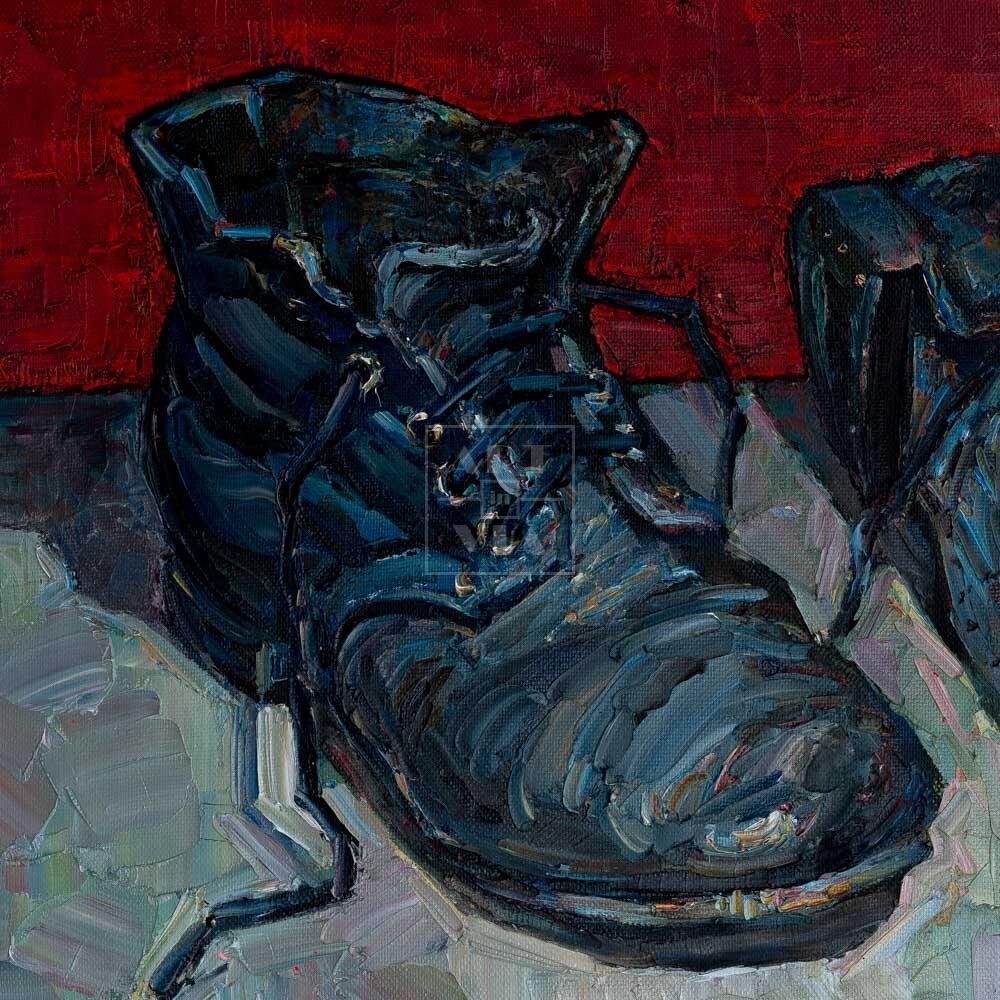 Фрагмент картины 3/3. № 1. Натюрморт с ботинками