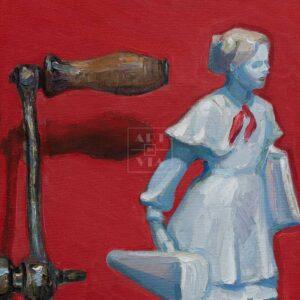 Фрагмент картины 3/3. № 2. Натюрморт со статуэткой пионерки