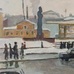 Фрагмент картины 1/3. Пейзаж. Москва. Остоженка
