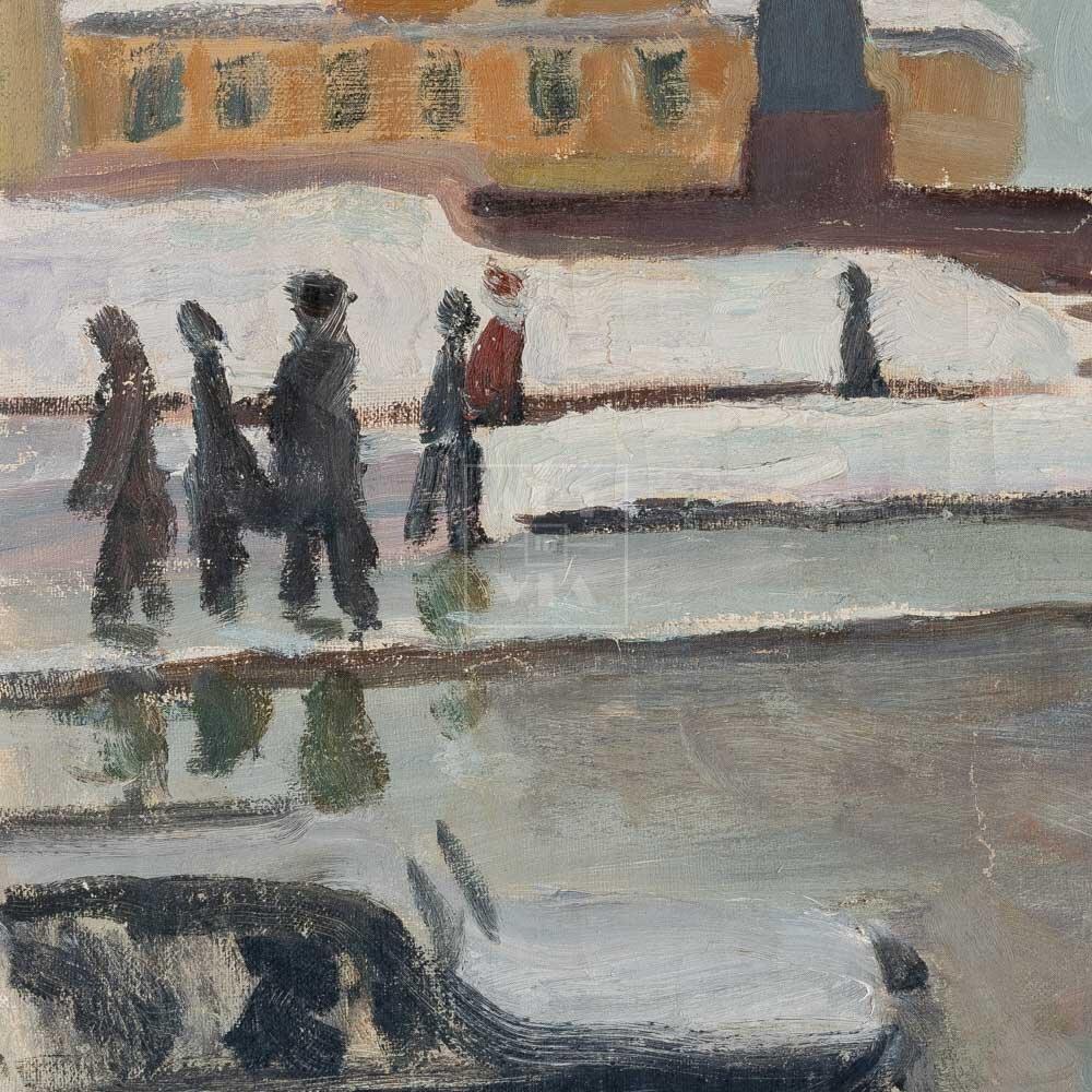 Фрагмент картины 3/3. Пейзаж. Москва. Остоженка