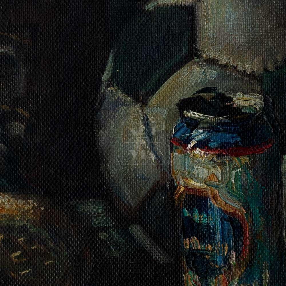 Фрагмент картины 2/3. Натюрморт с мячом и кедами