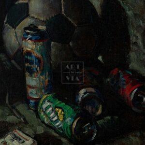 Фрагмент картины 3/3. Натюрморт с мячом и кедами