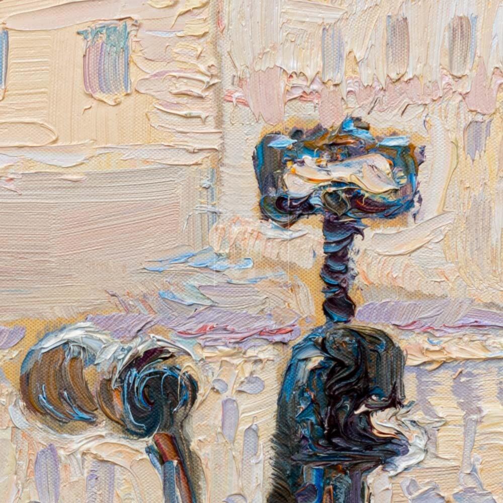 Фрагмент картины 2/3. № 3. Натюрморт со статуэткой и мясорубкой