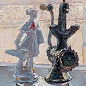 Фрагмент картины 3/3. № 3. Натюрморт со статуэткой и мясорубкой
