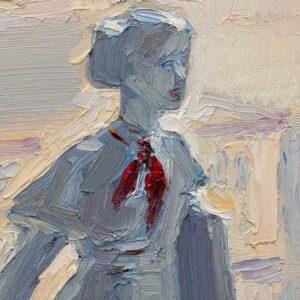 Фрагмент картины 2/3. № 5. Натюрморт со статуэткой и мясорубкой