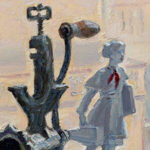 Фрагмент картины 3/3. № 5. Натюрморт со статуэткой и мясорубкой