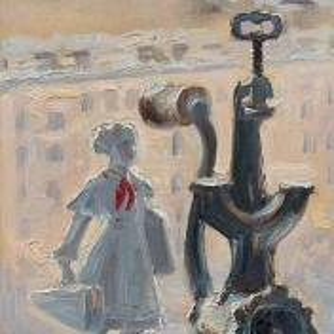 Фрагмент картины 3/3. № 6. Натюрморт со статуэткой и мясорубкой