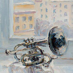 Фрагмент картины 1/3. № 3. Натюрморт с трубой