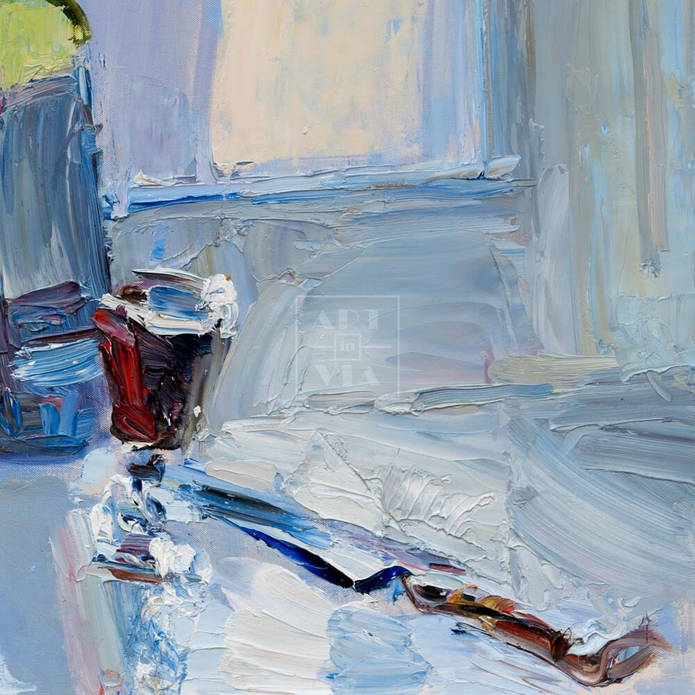 Фрагмент картины 3/3. Натюрморт. Лафитник красного