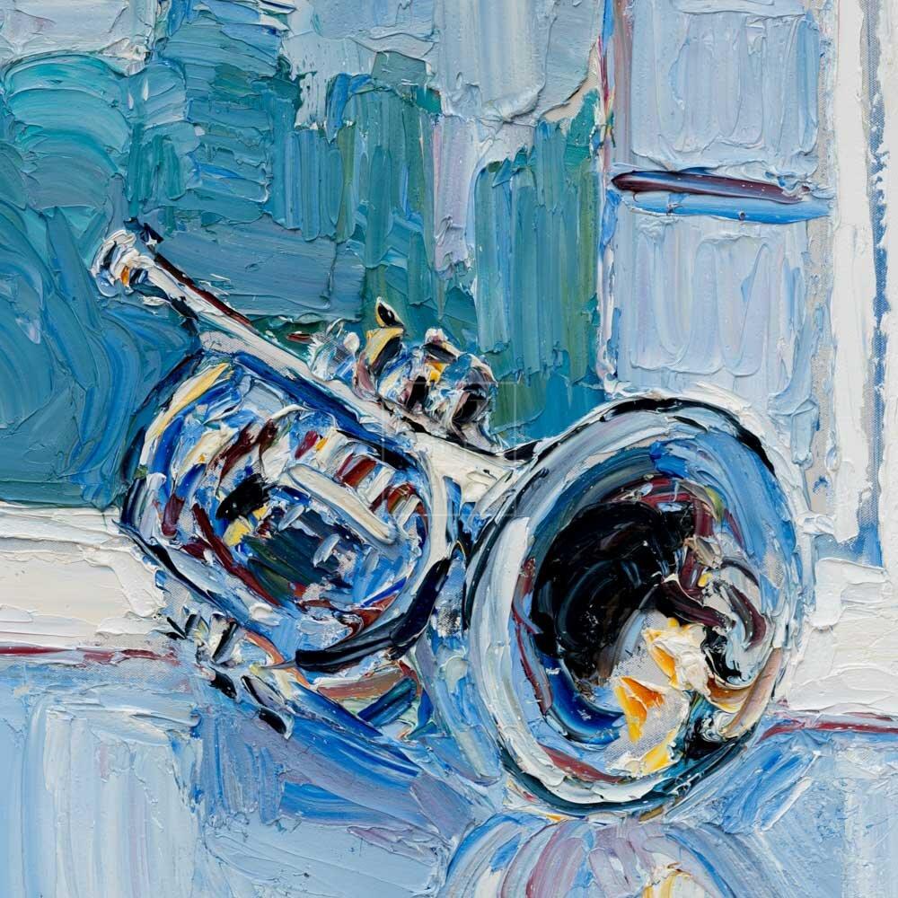 Фрагмент картины 1/3. № 5. Натюрморт с трубой