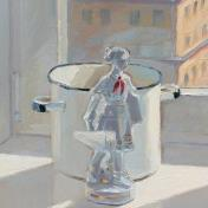 Фрагмент картины 1/3. Натюрморт со статуэткой и кастрюлей