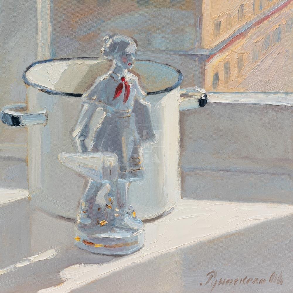 Фрагмент картины 3/3. Натюрморт со статуэткой и кастрюлей