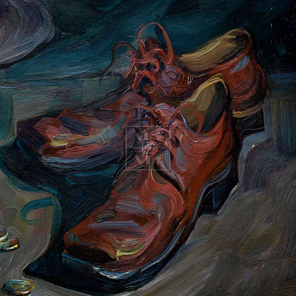 Фрагмент картины 3/3. Натюрморт с ботинками и трубой