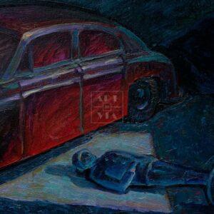 Фрагмент картины 3/3. Натюрморт с машинкой и солдатиком