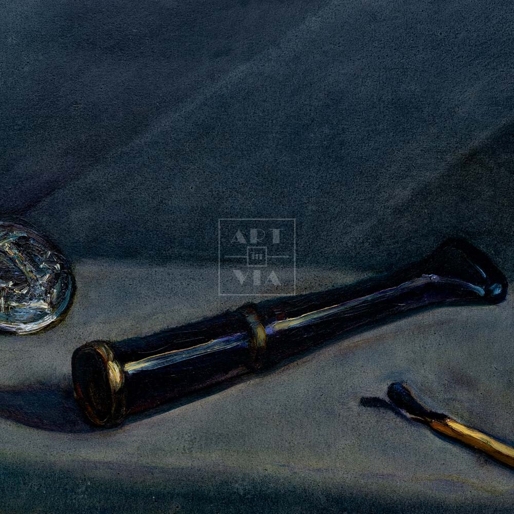 Фрагмент картины 1/3. Натюрморт. Мундштук отца