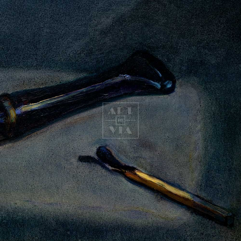 Фрагмент картины 3/3. Натюрморт. Мундштук отца