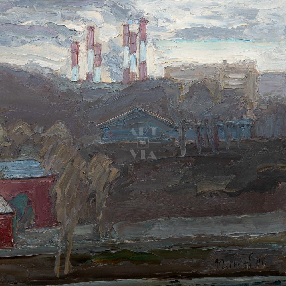 Фрагмент картины 1/3. Москва. Мартовский пейзаж