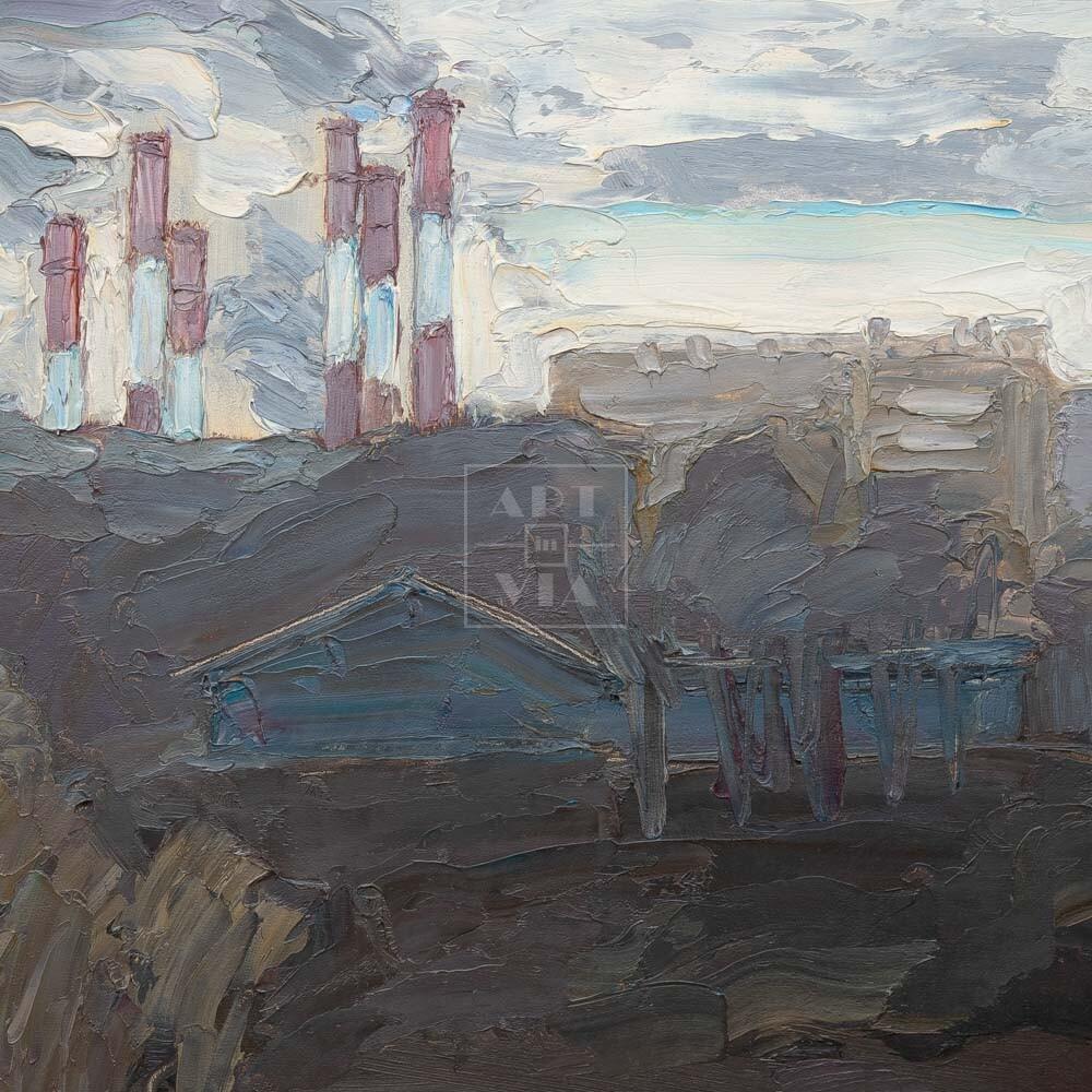 Фрагмент картины 3/3. Москва. Мартовский пейзаж
