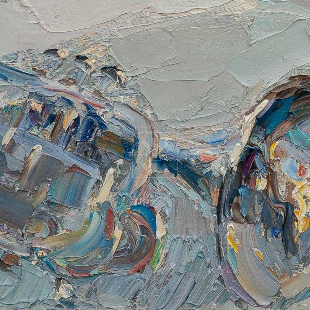 Фрагмент картины 2/3. Натюрморт с черепом и трубой