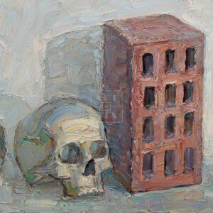 Фрагмент картины 3/3. Натюрморт с черепом и трубой