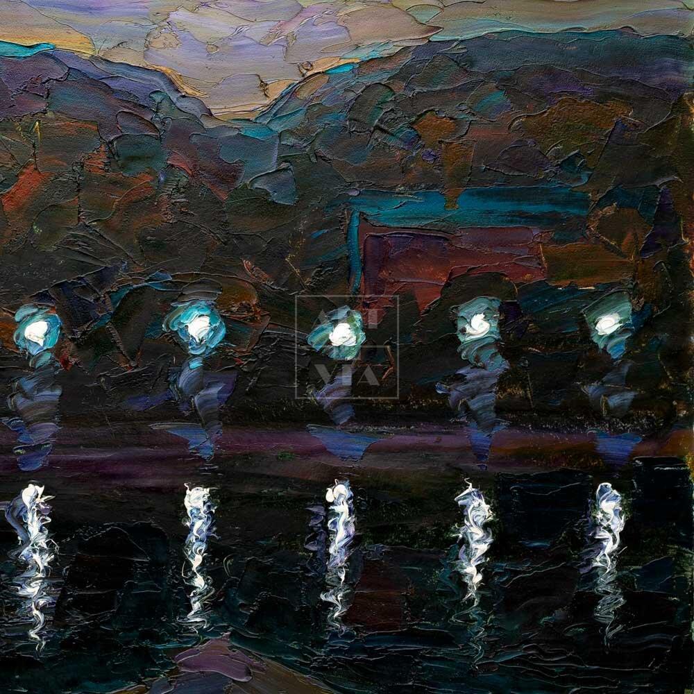 Фрагмент картины 1/3. Москва. Пейзаж. Вечерняя набережная