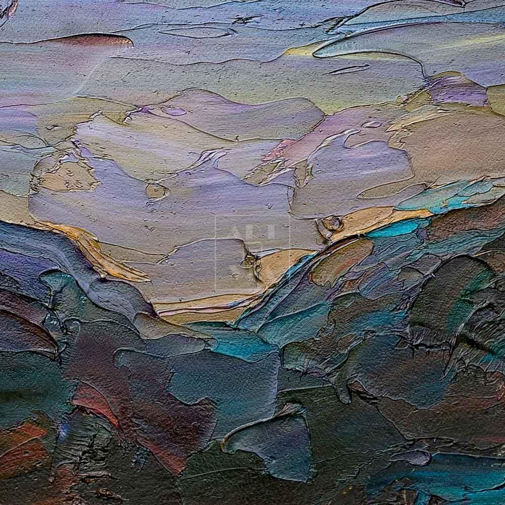 Фрагмент картины 2/3. Москва. Пейзаж. Вечерняя набережная