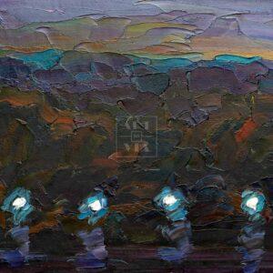 Фрагмент картины 3/3. Москва. Пейзаж. Вечерняя набережная