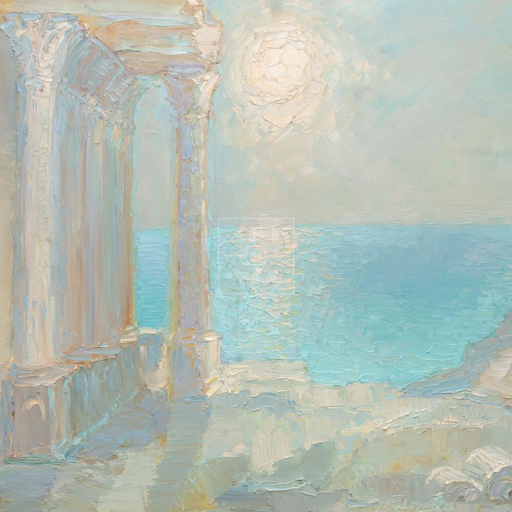 Фрагмент картины 1/3. Пейзаж. Колоннада на берегу моря