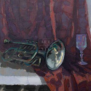 Фрагмент картины 1/3. № 6. Натюрморт с трубой и бокалом