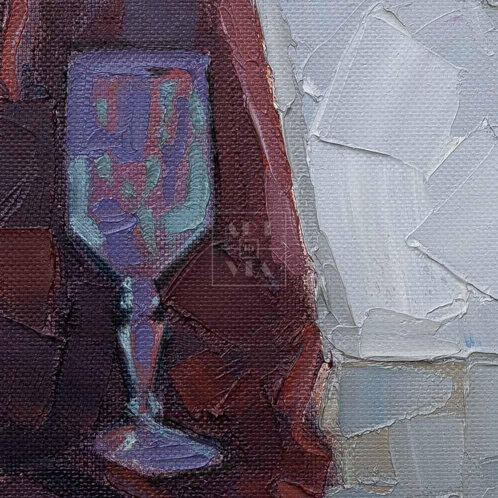 Фрагмент картины 2/3. № 6. Натюрморт с трубой и бокалом