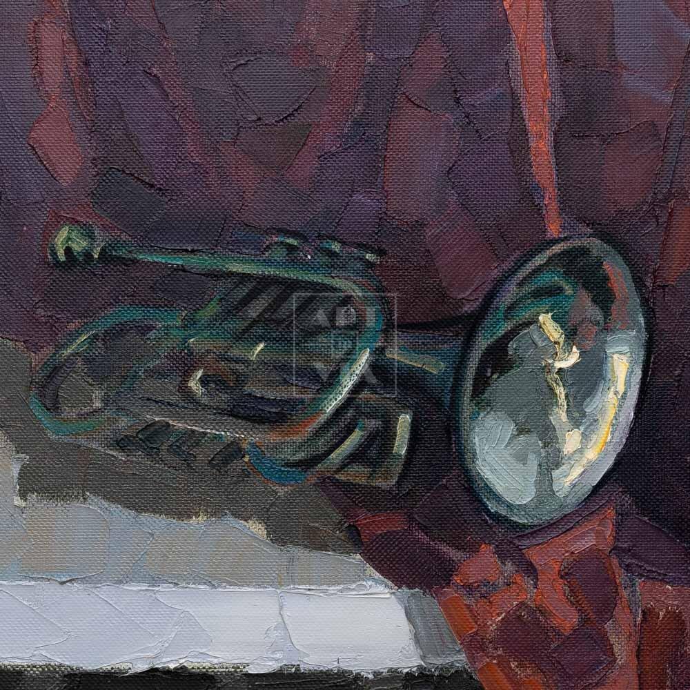 Фрагмент картины 3/3. № 6. Натюрморт с трубой и бокалом