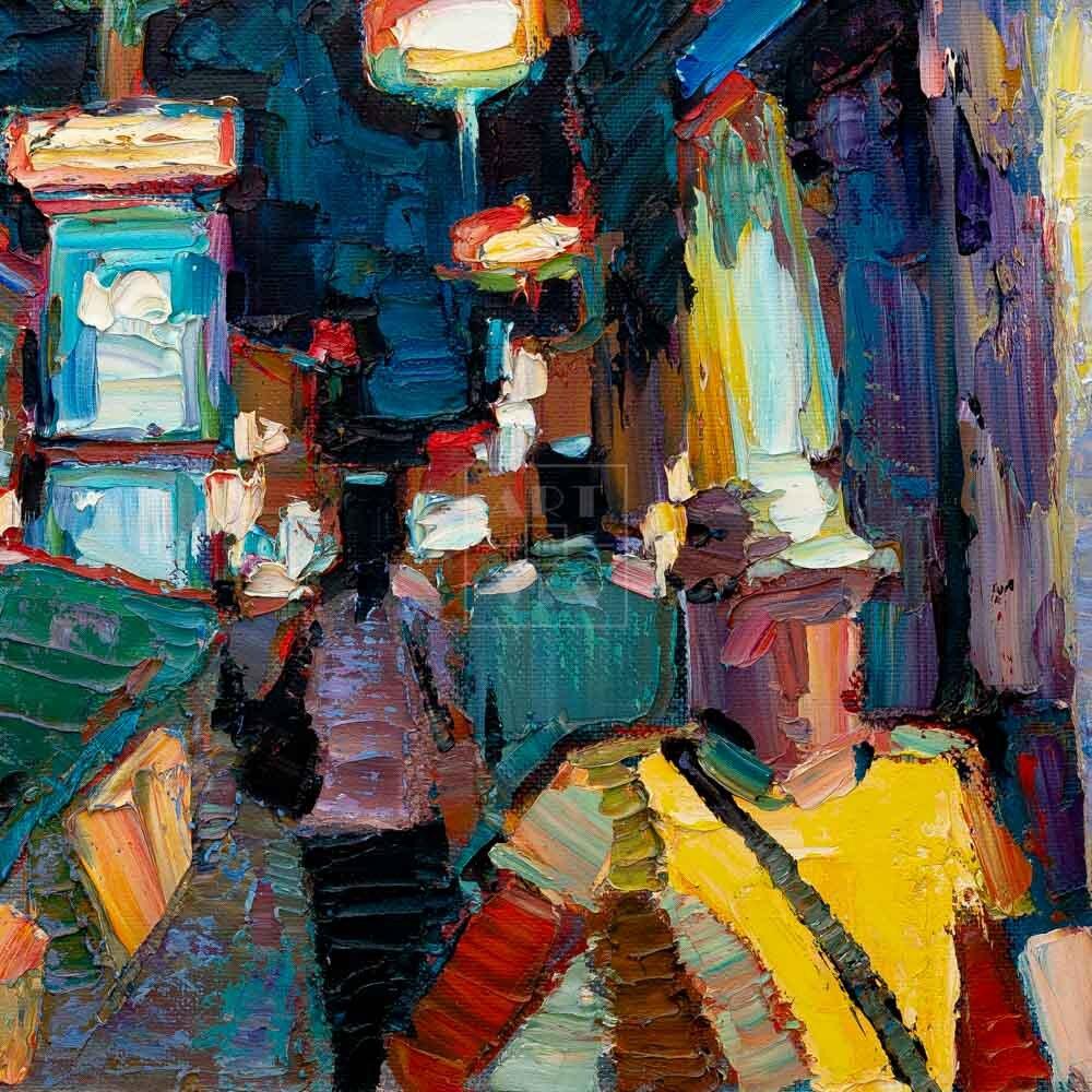 Фрагмент картины 3/3. Пейзаж. № 10. У входа в метро