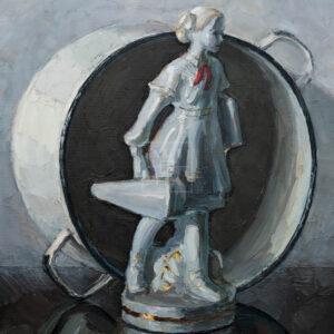 Фрагмент картины 1/3. Натюрморт со статуэткой пионерки и кастрюлей
