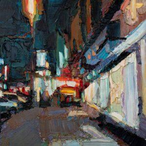 Фрагмент картины 1/3. Пейзаж. № 11. Улица Тверская в 0 часов 30 минут